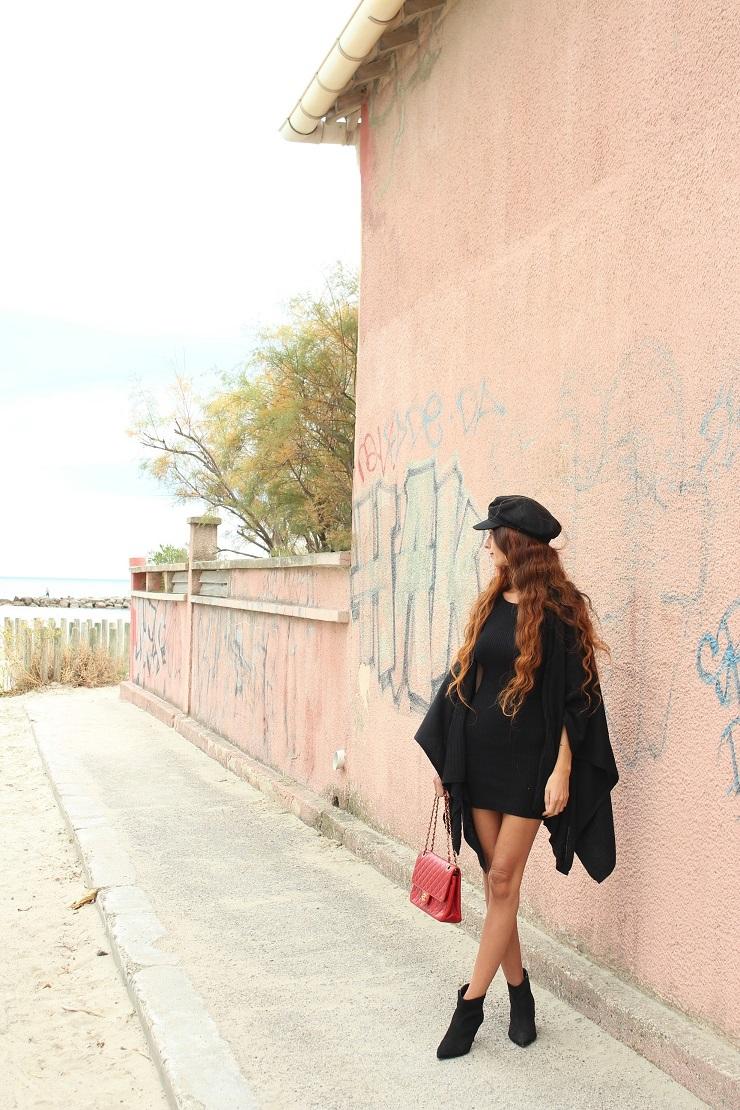 casquette de marin,cape,poncho,blog au pays de candy,blog mode au pays de candy,blog mode montpellier,blog montpellier,sac chanel,petite robe noire,comment porter une casquette de marin